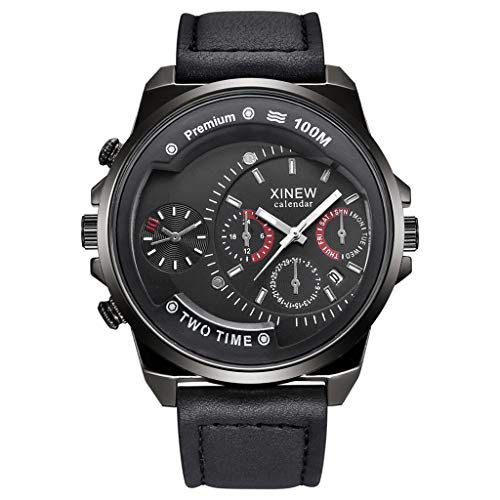 - nightfall Mens Leather Strap Watches Classic Casual Dress Stainless Steel Waterproof Chronograph Date Analog Quartz Watch