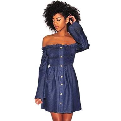 1ea4b67d8afd LISTHA Off Shoulder Ruffle Mini Dress Denim Dresses for Women Button Long  Sleeve at Amazon Women s Clothing store