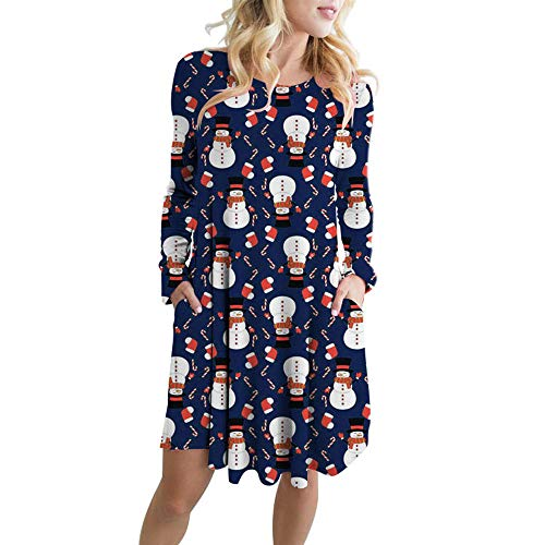 Cd Storage Pocket Chart - Christmas Dresses Hosamtel Women Cute Xmas Santa Claus Print Dress Long Sleeve Pocket Ladies Party Mini Dress