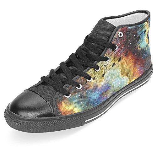 Interestprint Femmes Haut Haut Classique Toile Casual Chaussures De Mode Formateurs Sneakers Note De Musique 1