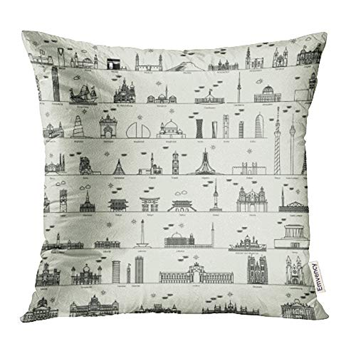 Emvency Decorative Throw Pillow Case Cushion Cover Skyline Line Capital City Collection Damascus Baghdad Madrid Doha Bandar Begawan 20x20 Inch Cases Square Pillowcases Covers for Sofa Two Sides Print