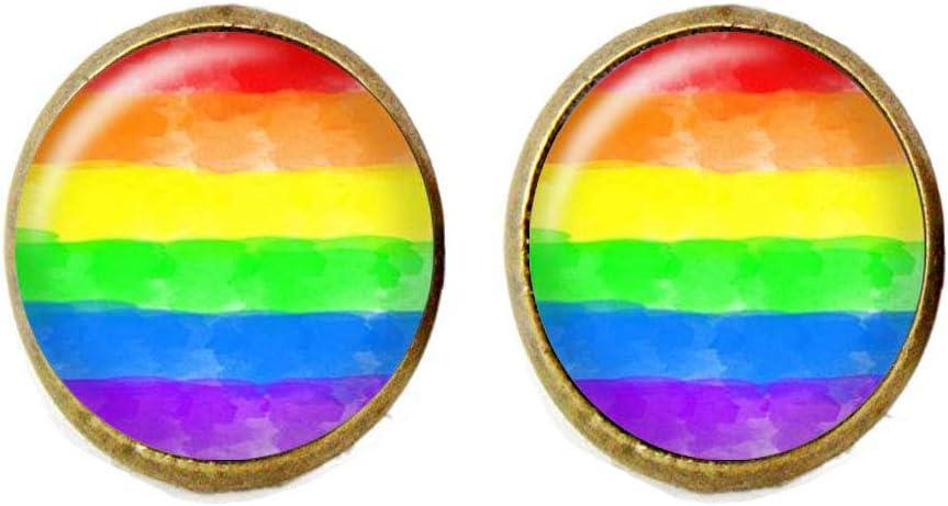 Pendientes de bandera del orgullo del arcoíris, acuarela, orgullo gay, joyería de cristal LGBT: Amazon.es: Hogar