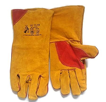 Guanteletes de soldadura guantes, con forro, soldadores guantes, doble palma reforzada, Kevlar cosido, wood-burner, Cat 2: Amazon.es: Bricolaje y ...