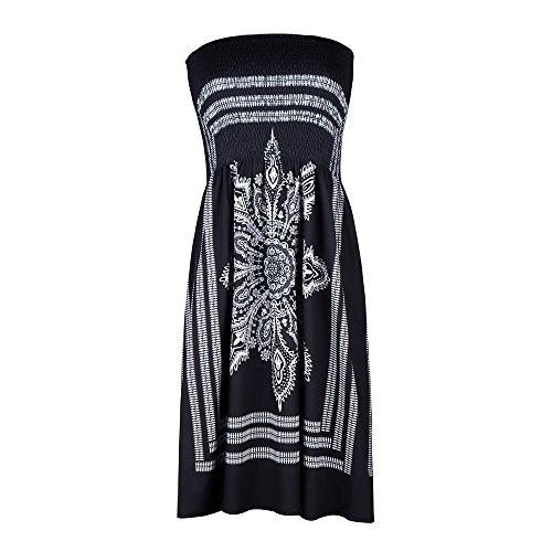 Women's Bohemian Mini Dress ❤️ LuluZanm Sales Ladies Strapless Casual Formal Dress Cover-ups Sexy Beach Dress Black