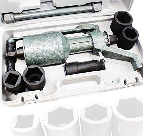 Torque Multiplier Truck Trailer RV Lug Nut Labor Saving Wrench w/ 4 Sockets (38 Finish Iron Oxide)