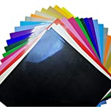 "Heat Transfer Vinyl Bundle 12""x12""- 20 Sheets of Assorted Color DIY T-Shirt Vinyl Transfer Sheets -Best Iron On HTV Vinyl for Silhouette Cameo, Die-Cut or Heat Press Machine,Halloween DIY"