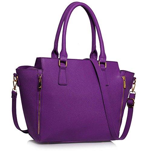 ANNA GRACE - Bolso de tela de piel sintética para mujer Design 1 - Purple