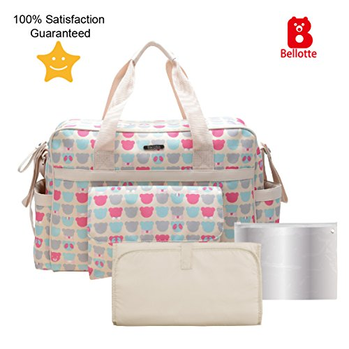 Bellotte Diaper Tote Bags - Multi-Function Waterproof Travel Tote Bag Nappy Bags for Baby Care with Stroller Straps, Changing Pad and Sundry Bag, Large Capacity, Stylish and Durable (Cute Bear) (Diaper Bag Pink And Brown)
