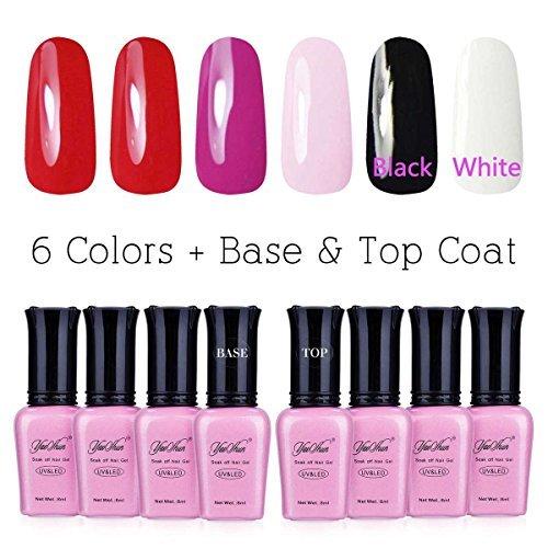 Yaoshun Soak Off Gel Nail Polish 8 Pcs/Lot Top Coat Base Coat UV Gel Polish Colors Kit #005 (Halloween Black And White Nails)
