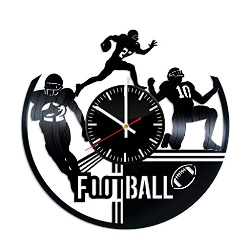 - Football Vinyl Record Wall Clock, American Football Sport Game Handmade Gift Idea Any Occasion, Original Home Room Kitchen Decor, Vintage Modern Style Theme Vinyl Decals