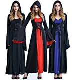 Sinatar Halloween Queen Witch Vampire Cosplay Court Costume Stage-wear Hooded Dress