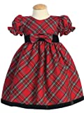 Baby or Toddler Girls Christmas Holiday Dress - Red Plaid with Velvet 2T