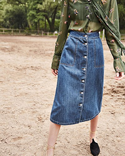 Aeneontrue Women's Denim Skirts A-Line Button Down Casual Skirts With Pockets