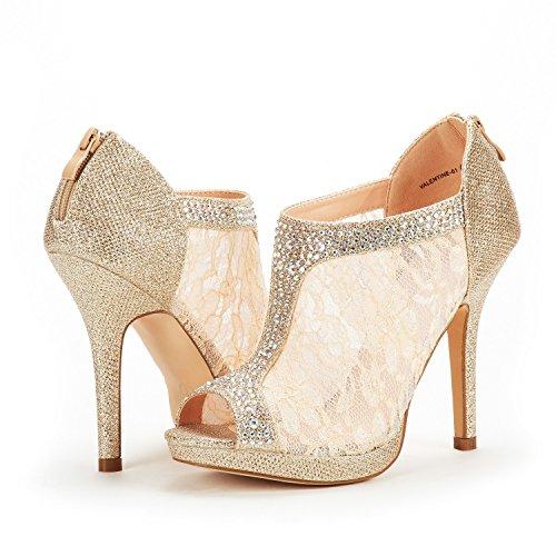 Valentino 01 Delle Vestito Glitter Da Nozze Plateau Modo Coppie gold Pattini Donne Tallone Sogno xOg8qHwP0W