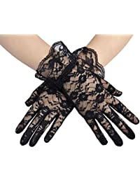 Short Lace Gloves for Women Wrist Length Floral Gloves for Wedding