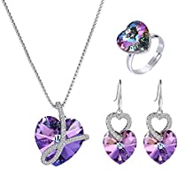 Xuping Temperament Party Love Heart Pendant Adjustable Ring Earrings with Box Crystals from Swarovski Jewelry Set Women Cyber Monday Gifts (Purple)