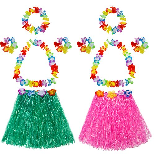 TOODOO Elastic Hawaiian Hula Grass Skirt with Flower Costume Set for Party Beach Dance Fancy Dress, Multicolor, 2 Sets -