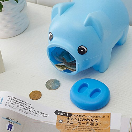 Hacloser Plastic Piggy Bank Coin Money Cash Saving Box Collectible for Boys Girls Kids Pig Toy Gift (Blue) ()