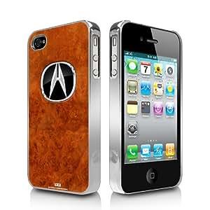 Acura Logo Burlwood Look iPhone 4 4S Chrome Cell Phone Case