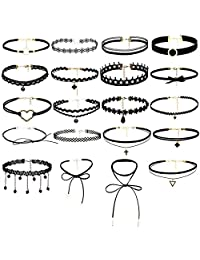 Choker Set 20 Pcs Adjustable Classic Black Choker Necklace Foot Set Velvet Metal Pendant Making Chains Vintage Lolita Styles for Women Girls
