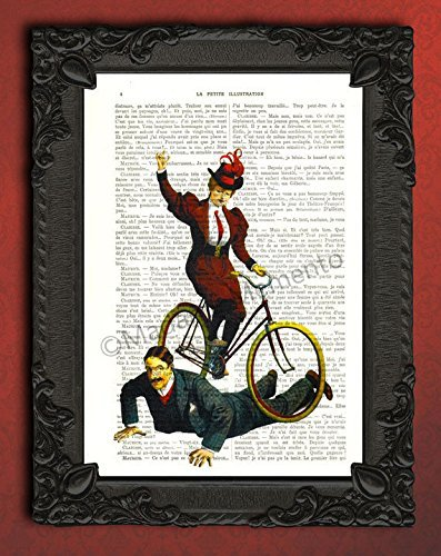 Cycling circus lady artwork, victorian bike act art print, antique bicycle poster (Paper Costume Performer)
