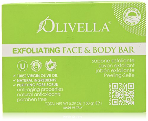 Olivella Bar Soap - Face and Body Exfoliating, 5.29 Ounce