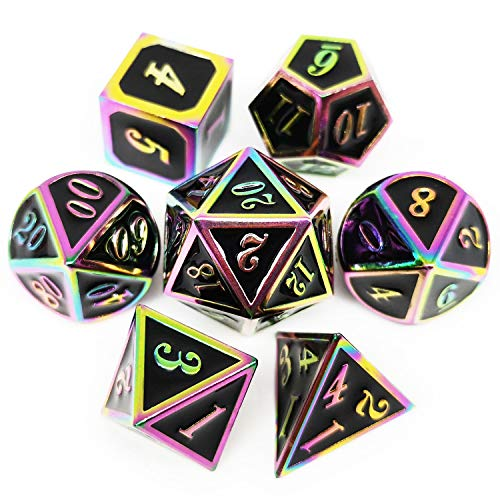 Haxtec DND Metal Dice Set 7PCS Rainbow Dice of D20 D12 D10 D8 D6 D4 for Dungeons and Dragons RPG Games (Rainbow/ Holographic Black)