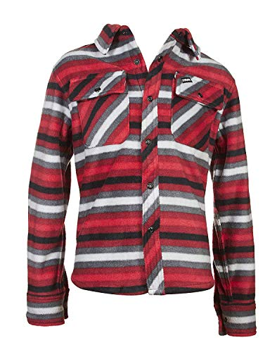 TONY HAWK Boys Long Sleeve Arctic Fleece Long Sleeve Button Down Shirt School Clothes Shirt FIRE RED 10/12