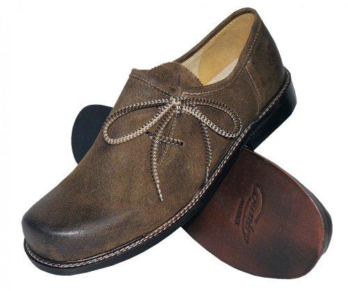 40-48 Trachtenschuhe Haferlschuhe Trachten-Schuhe Leder braun speckig Ledersohle, Größe:43