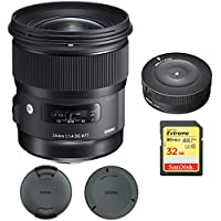 Sigma 24mm f/1.4 DG HSM Wide Angle Lens (Art) for Canon DSLR Camera Mount (401-101) with Sigma USB Dock for Canon Lens & SanDisk 32GB Extreme SD Memory UHS-I Card w/ 90/60MB/s Read/Write