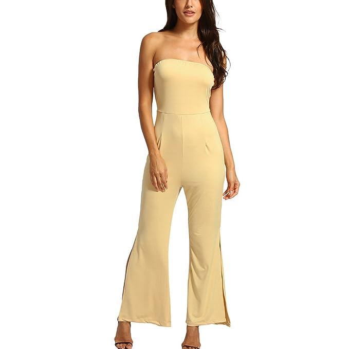 fe19d74a119 Amazon.com  Fashion Women Off Shoulder Playsuit Party Clubwear Jumpsuit  Wide Leg Lounge Pants Elegant High Waist New  Clothing