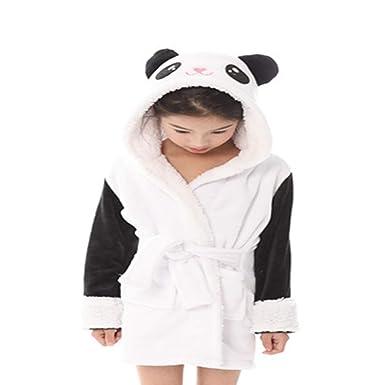ac0528e24b75 Qinlee Kids Soft Bathrobe Cute Panda Fleece Robe Hooded Sleepwear  Comfortable Loungewear  Amazon.co.uk  Clothing