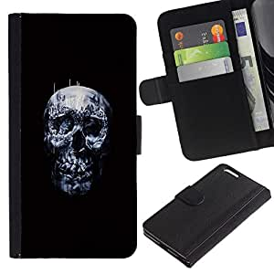All Phone Most Case / Oferta Especial Cáscara Funda de cuero Monedero Cubierta de proteccion Caso / Wallet Case for Apple Iphone 6 PLUS 5.5 // Dark Skull