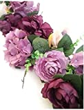 Wedding Flowers 35'' Peony Rose Hydrangea Swag Silk Arch Home Pary Decoration (Eggplant)