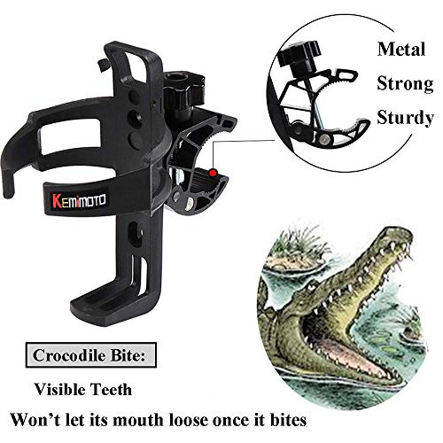 kemimoto ATV Cup Holder Spyder Drink Holder RZR Water Bottle Holder Universal Compatible with Harley Honda Suzuki Yamaha Can Am Rollator Walker Wheelchair Pushchair Transport Chair Bar ()