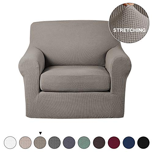 Turquoize Armchair Slipcover 2 Piece Couch Cover Furniture Protector High Spandex Small Checks Knitted Jacquard Form Fit Slip Cover Stylish Chair Slipcover Chair Covers for Living Room (Chair, Taupe)