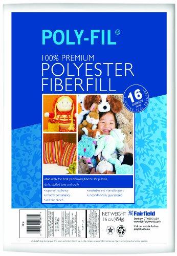 Fairfield PF16B Poly-Fil Premium Polyester Fiber, White, 1 Bag, 16-Ounce