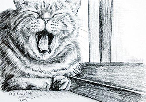Sleepy original watercolor cat animal pet drawing painting by Art Workshop Gala and Denis Kostroma