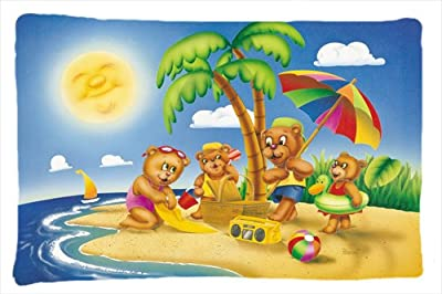 Caroline's Treasures APH0375PILLOWCASE Bears Playing at The Beach Fabric Pillowcase, Standard, Multicolor