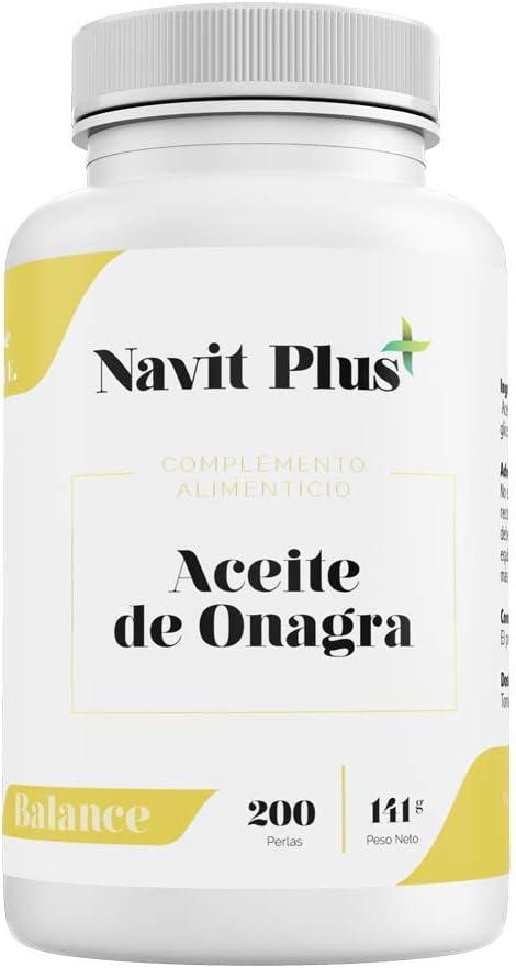 Aceite de Onagra 10% GLA + Vitamina E NAVIT PLUS | 200 perlas para reducir el dolor menstrual, síntomas de la menopausia y mejorar el equilibrio hormonal | fortalece huesos, uñas y piel | Fab Esp.