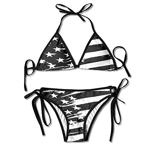 Full American Bikini Swimwear Bottom (Women's Beach Wear Bikini Sets Black USA Flag Swimsuits)