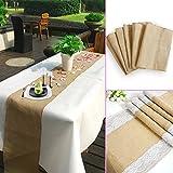 TtS 30cm X 275cm Jute Hessian Table Runners Rustic Burlap Sewed Edge Vintage Shabby Chic Wedding Table Decor Jute Outdoor Party Decor