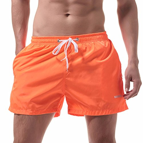(NEEKEY Mens Shorts Men's Swim Drawstring Trunks Quick Dry Beach Surfing Running Swimming Athletic Workout Perfect Shorts (XL,Orange))