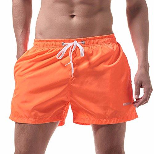 (POHOK Men Shorts Beach Men's Shorts Swim Trunks Quick Dry Beach Surfing Running Swimming Water Shorts (L,Orange))