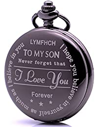 Fashion Mens Boys Engraved Pocket Watch to My Son, Never Forget That,I Love You Forever
