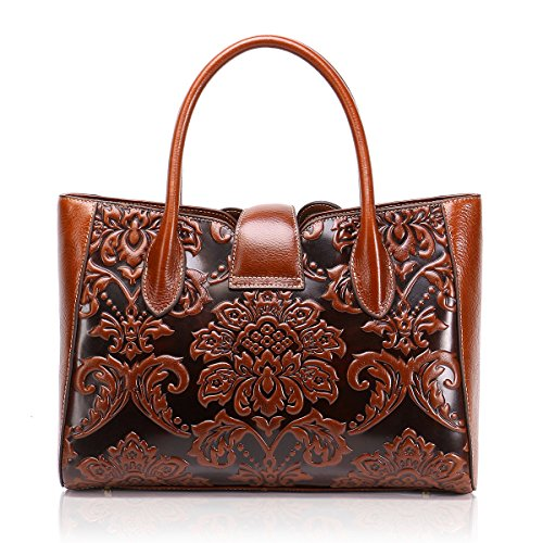 Handbag Embossed Rero Designer Women Tote Bags Shoulder for APHISONUK Brown Brown Bags Ladies Genuine Leather AB0FYBTqw