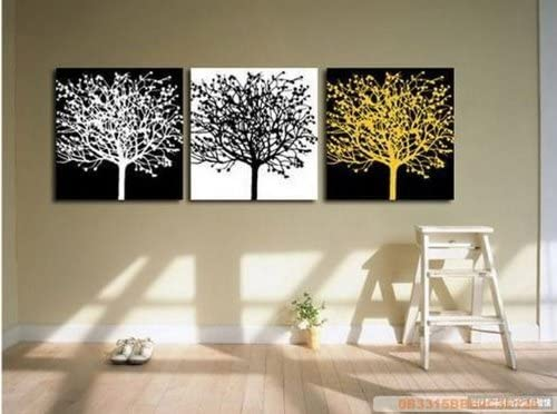 100 Hand Painted Art Large Modern Abstract Black and White Oil Painting on Canvas 3 Piece Wall Art Decor for Home Decoration Stretched Ready to Hang