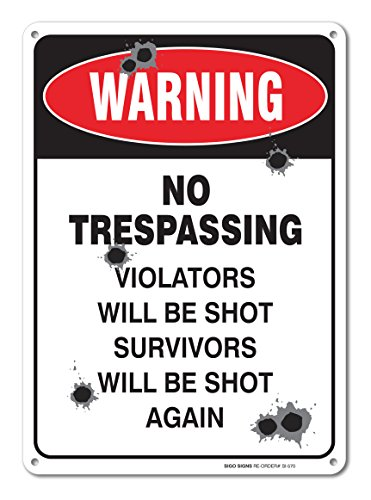 Warning Trespassing Violators Survivors Aluminum