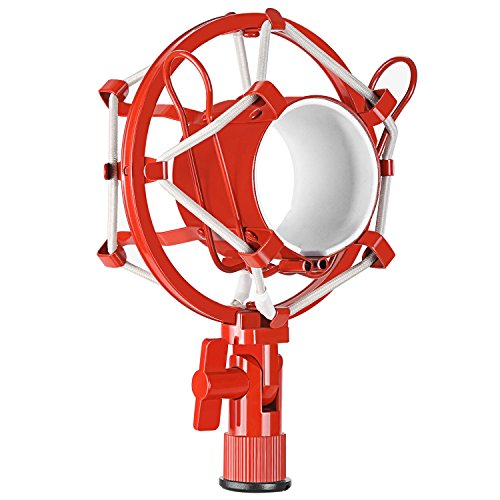 Neewer Pro Metal Microphone Shock Mount Mic Anti-vibration Holder Clip High Isolation for Suspension Boom Scissor Arm Stand and Condenser Mic,Ideal for Studio Radio Broadcasting and Recording(Red)