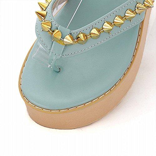 Carol Skor Populära Womens Nit Mode Godis Färger Dragkedja Chic Söt Plattform Sandaler Blå